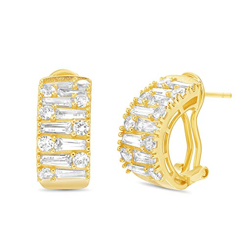 (INSPIRED BY YOU. Baguette and Round Shaped Prong Set Cubic Zirconia Hoop Bridal Earring for Women with Omega Back in Yellow Gold Plated Sterling Silver)