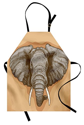 Ambesonne Elephant Apron, Illustration of Engraving Wild Elephant Head in Retro African Animal Nature Boho, Unisex Kitchen Bib Apron with Adjustable Neck for Cooking Baking Gardening, Grey Almond ()