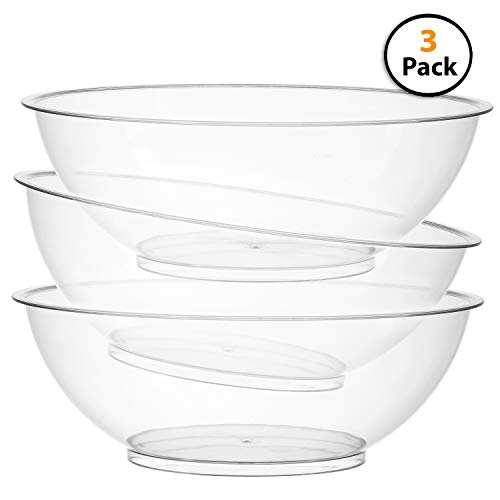 Plastic Salad Clear Bowl - Set of 3 | 10-inch Vista Plastic Serving bowls, Salad and Snack Bowl, Round