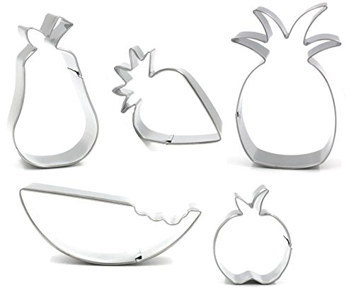 Pear Cutter - Fruit Cookie Cutter - American Confections, Watermelon, Pineapple, Strawberry Set of 5