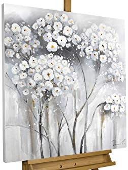 Kunstloft® Cuadro en acrílico Blanca inocencia 80x80cm | Original Pintura XXL Pintado a Mano sobre Lienzo | Blanco Gris | Cuadro acrílico de Arte Moderno con Marco: Amazon.es: Hogar