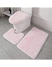 Soft Microfiber Bathroom Rugs Sets 3 Piece, Bath Rug + Contour Mat + Toilet Seat Cover, Non-Slip Bathroom Rugs with PVC Point Flannel Backing, Water Absorbent Gradient Color