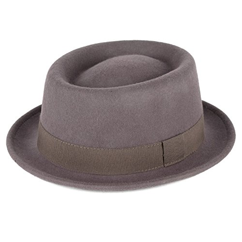 Unisex Superb Foldable Pork Pie Trilby Hat with Removable Feather and Matching Band 100/% Wool Hand Made