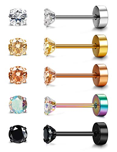 Besteel 5 Pairs 20G Stainless Steel Tragus Stud Earrings for Women Men Round Cubic Zirconia Flat Back Screw Back Ear Piercing Set 3MM-6MM
