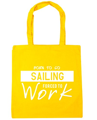 HippoWarehouse Born to Go Sailing Forced to Work Tote Shopping Gym Beach Bag 42cm x38cm, 10 litres Yellow