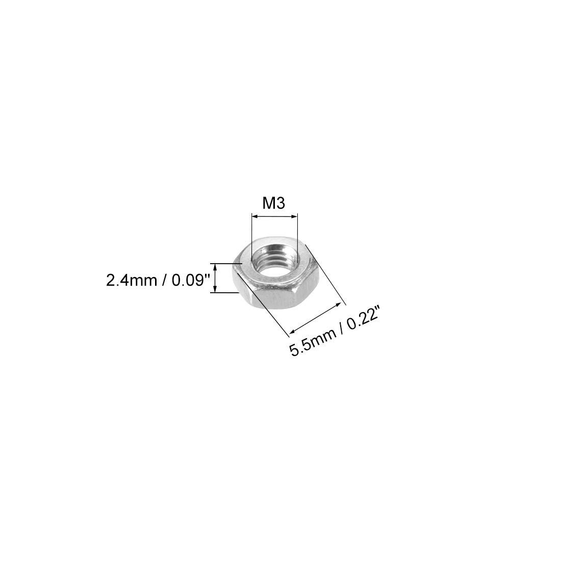sourcing map M/étrique M5 acier Inox 316 /écrou Hex 25pc Ton argent