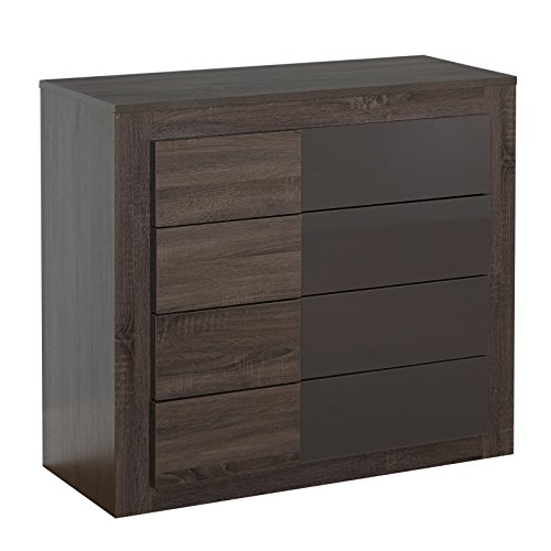 Target Marketing Systems Two-Toned Eden Drawer Chest with 4 Drawers, Dark Sonoma Oak/High Gloss Gray (Dressers And Chests Target compare prices)