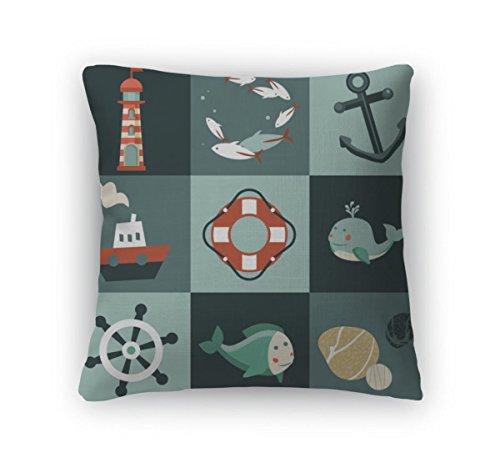 Gear New Zippered Set Nautical Design Elements Square Pillow
