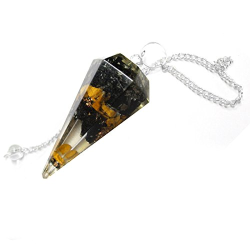 1 (One) Orgone Gold and Black Agate Pendulum with Silver Tone Bail Rp Exclusive COA AM15B5-06