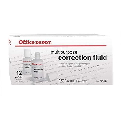Office Depot Correction Fluid, Multipurpose, 20 mL, White, Pack of 12, 87268