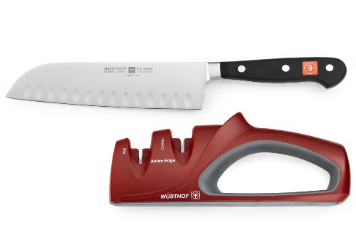 Wusthof Classic Santoku High Carbon Stainless Steel Knife With Sharpener