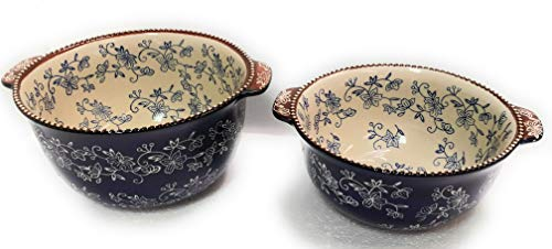 Temp-tations Set of 2 Bowls, Tall Side, Mixing or Serving, Nestable 2.5 Quart & 1.5 Quart (Floral Lace Blue)