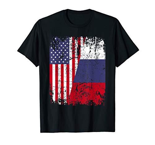 RUSSIAN ROOTS TSHIRT | Half American Flag | RUSSIA SHIRT