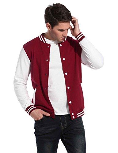 Twill Letterman Jacket - Jingjing1 Men Varsity Jacket, Cotton Lightweight Contrast Color Letterman Jacket (XL, Red)