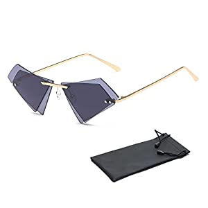 Aolvo 2018 Trendy Frameless Sunglasses Personalized Rimless Sunglasses Popular Fancy Retro Tinted Sunglasses Dual Lenses UV400 for Women Men Teens Girls Boys, with Sunglasses Pouch, Gray