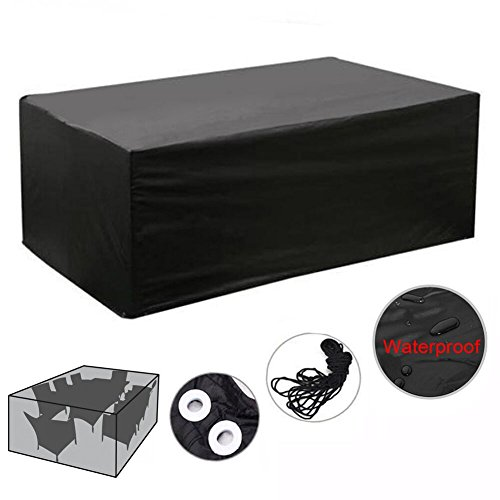 Meiwo Garden Furniture Covers Cube Patio Furniture Covers Waterproof Durable Garden Furniture Cover Outdoor Table Set Protection (Black,(L)124x(W)63x(H)29 inch)