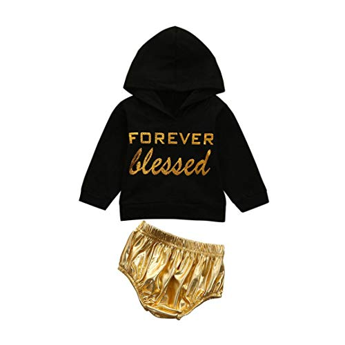 BabiQ Toddler Infant Baby Girls Letter Print Hooded Tops Pullover Shorts Outfits Set (6M, Black) for $<!--$7.99-->