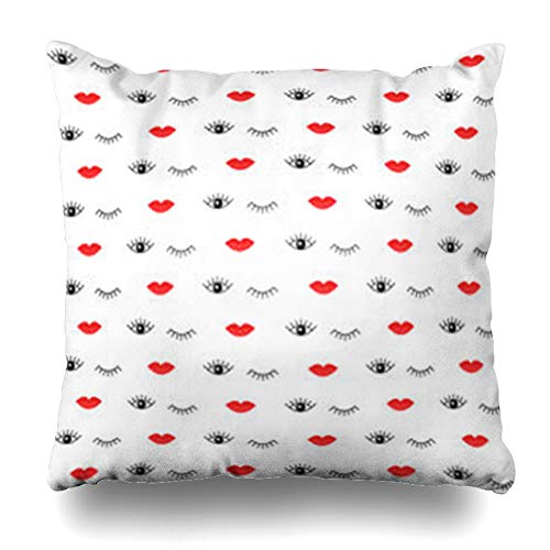 AileenREE Throw Pillow Covers Eye Eyelash Simple Red Lips Open Closed Eyes Site Drawn Pattern Makeup Black Lash Lashesbackgrounds Pillowcase Square Size 18 x 18 Inches Home Decor Cushion Cases