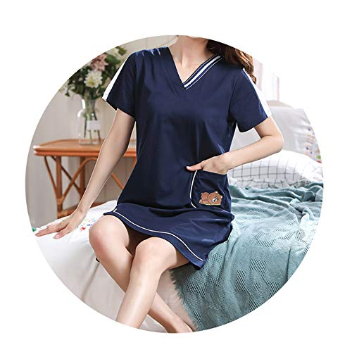 Summer Nightdress Women Cotton O-Neck Women Nightwear Cotton Short Sleeve Sleepwear Women Sexy Nightgown Plus Size Home Dress,Nightgown women9,L -