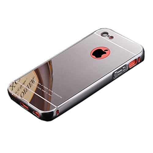 Fast Jewelry Silver Luxury Ultra-thin Electroplate Mirror PC - Metal Iphone 5 Bumper Case
