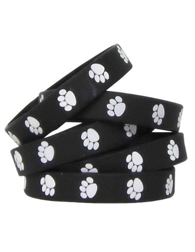 Teacher Created Resources Black with White Paw Print  Wristbands (6570)