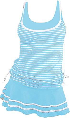 Nylon Gloves Striped (MiYang Women's Tankini Striped Vintage Swim Dress Blue X-Large)