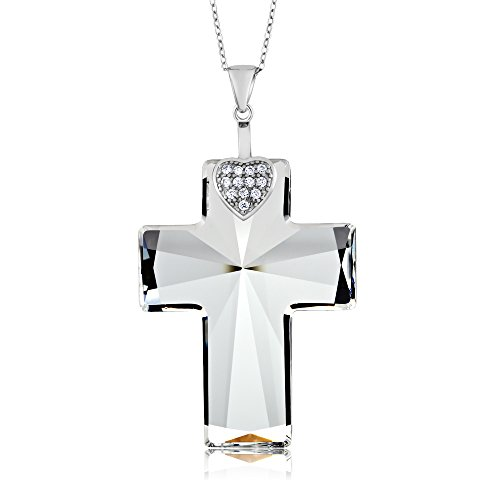 Sterling Silver Cross and Heart Shape Pendant Necklace with 18 Inch silver Chain Created with Swarovski (Crystal Christian Necklace)