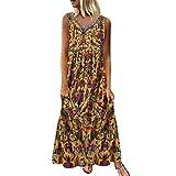 DondPo Women Vintage Bohemian Folk Dresses Summer V-Neck Boho Sleeveless Floral Printed Plus Size Beach Maxi Dress Yellow