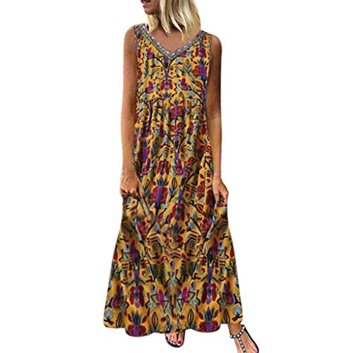 Plus Size Dresses for Women Boho Long Short Sleeve Crew Neck Summer Casual Beach Long Maxi Tank Dress with Pocket (003Yellow,XXL)