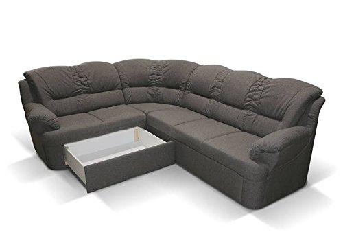 Polstermöbel Dores mit Staukasten und Bettfunktion – Abmessungen: 265 x 210 cm (L x B) - Staukasten: Rechts
