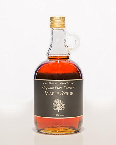 Mansfield Maple Certified Organic Pure Vermont Maple Syrup Amber Rich (Vermont Medium), 1 Liter Glass Bottle