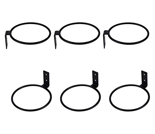 TQVAI 4 inch Flower Pot Holder Ring Wall Mounted 6 Pack Metal Planter Hooks Hangers Wall Bracket, Black