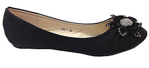 Donne Scarpe ballerine Mocassini 106-7 con strass, colore: nero