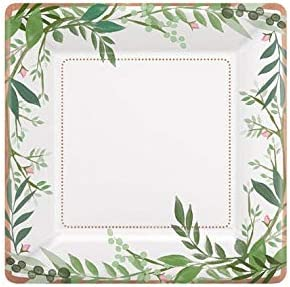 Eucalyptus Greens 9 Inch Paper Plates 8 Packs Floral Wedding Bridal Decorations