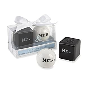 """Mr. and Mrs."" Ceramic Salt and Pepper Shakers Wedding Party Favor Gift , Set of 36"