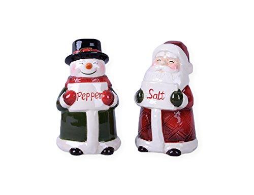 Santa and Snowman Salt and Pepper Shaker Set - Ceramic Christmas Salt & Pepper Shakers -