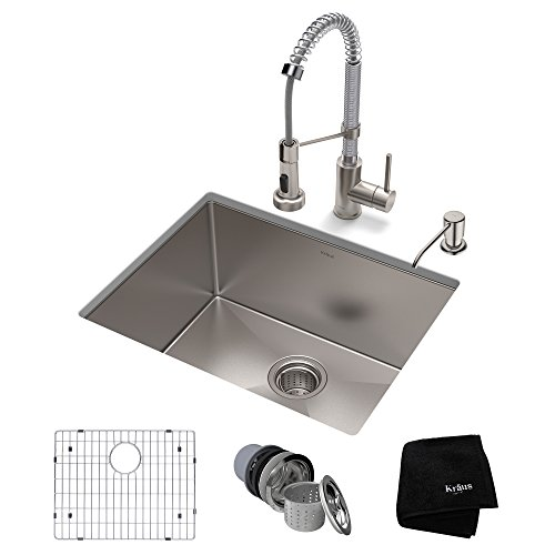 (KRAUS KHU101-23-1610-53SSCH Set with Standart PRO Sink and Bolden Commercial Pull Faucet in Stainless Steel Chrome Kitchen Sink & Faucet)
