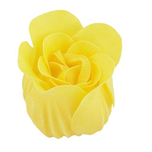 Amazon.com: eDealMax Forma decoración del cordón del Regalo de boda del brote de Flor del pétalo del jabón de baño envuelto cuadro Amarillo 9pcs: Home & ...