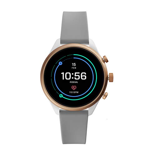 Fossil Women's Gen 4 Sport Heart Rate Metal and Silicone Touchscreen Smartwatch, Color: Rose Gold, Grey (FTW6025)