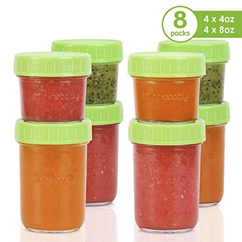 Glass Baby Food Storage Containers – Set Contains 4 Small Reusable 4oz Jars and 4 Large Reusable 8oz Jars with Airtight Lids and Waterproof Label