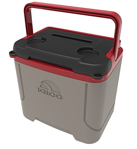 Igloo Profile 16 Quart Cooler, Sandstone/Blaze Red, 16 Qt / 15 Large / 24 Cans