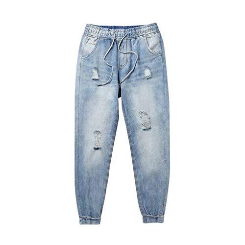 Ragazzo Vita Harem Coulisse Uomo Jeans Conici Elastici Blau Pantaloni In Da Fit Con Larghi xwPznEtqX