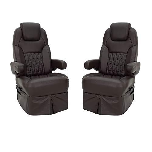 RecPro RV Captains Chair   Driver & Passenger Set   RV Furniture   Optional Pedestal   Ultrafabrics Brisa Birch or Coffee Bean ... (Coffee Bean, No Pedestal)