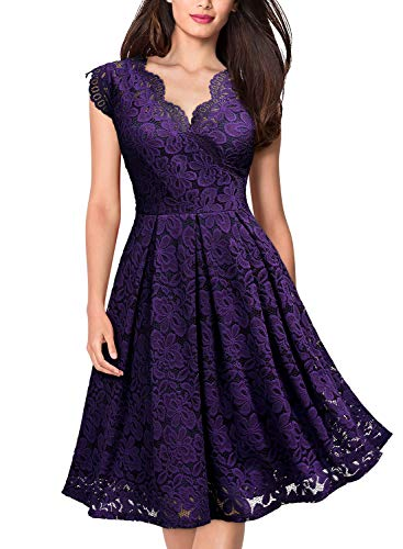 MISSMAY Women's Vintage Floral Lace Short Sleeve V Neck Cocktail Party Swing Dress, Large, Purple