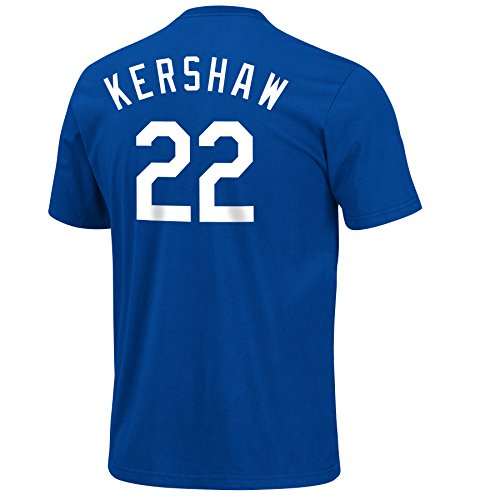 Clayton Kershaw Los Angeles Dodgers Blue Name and Number Jersey T-Shirt - Champ Jersey T-shirt