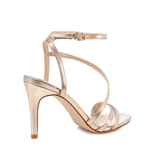 438ebee4631 Faith Womens Rose Gold  Delly  High Stiletto Heel Ankle Strap Sandals  Faith   Amazon.co.uk  Clothing