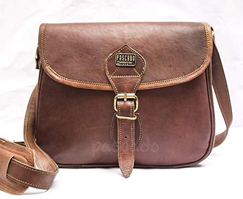 Pascado Brown Vintage Leather crossbody purse Bag for women shoulder satchel small bag 9x11 inch