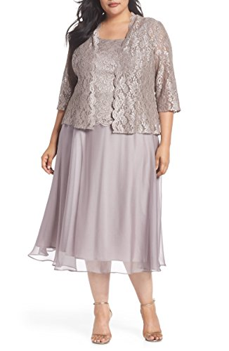 Alex Evenings Women's Plus-Size Tea Length Mock Jacket Dress, Mink, 22W