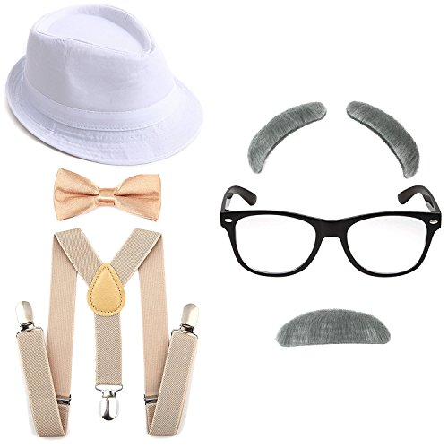 1920's Boys Gangster Costume Set - Short Brim Fedora Hat,Adjustable Suspenders with Pre-Tied Bow Tie, Old Man Eyebrows & Moustache,Nerd Fake Glasses for Kids & Child(White Hat & Khaki Suspenders)]()