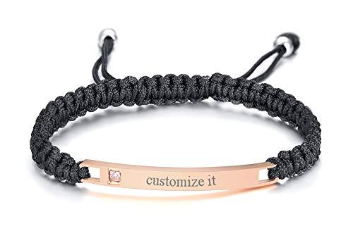 - MPRAINBOW Custom Stainless Steel Name Tab ID Tag Single Zircon Braided Nylon Rope Adjustable Bracelet Rose Gold